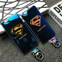 Electroplating Blue-Ray Ring Braket couple phone Case FOR iPhone6 6S Superman mobile phone Cover FOR apple 6 6S 6plus 6S PLUS