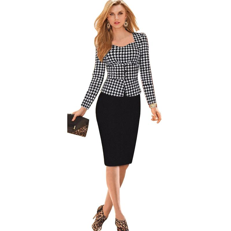 New 2016 Women Work Wear Vestidos De Fiesta Button Elegant Bodycon A line Casual Office Dress