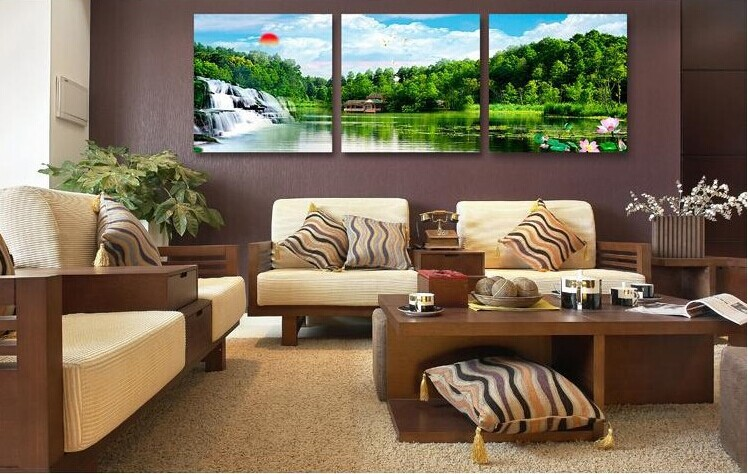 3 piece canvas wall art hanging feng shui picture on the for Living room 12x18
