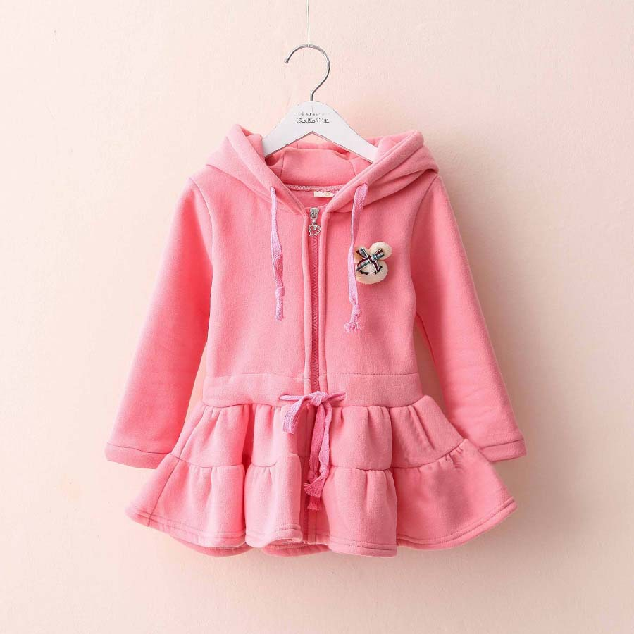 2015 spring solid appliques fleece baby girls cotton-made hooded long sleeve dress A1474(China (Mainland))