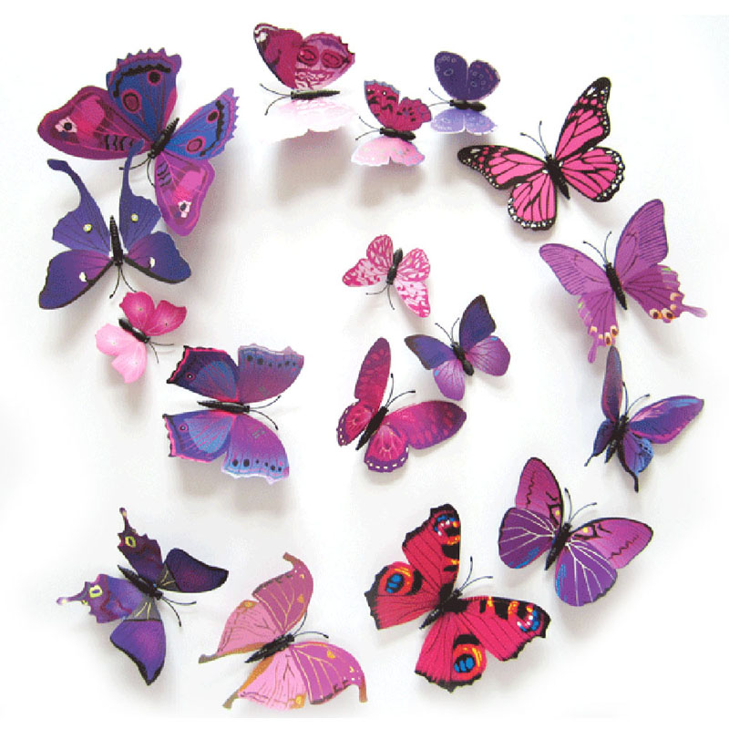 12PCS 3D PVC Magnet Butterflies DIY Wall Sticker Home Decor New Arrival Hot Sales Free Shipping V1NF(China (Mainland))