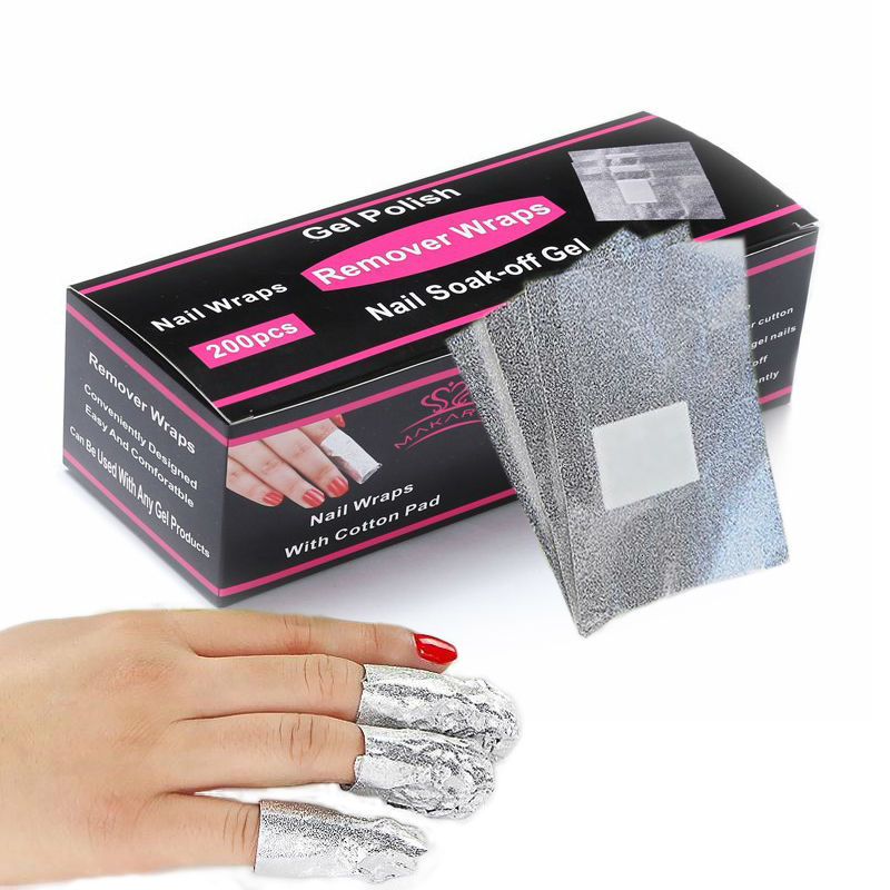 200pcs Aluminium Foil Nail Art Soak Off Acrylic Nail Color