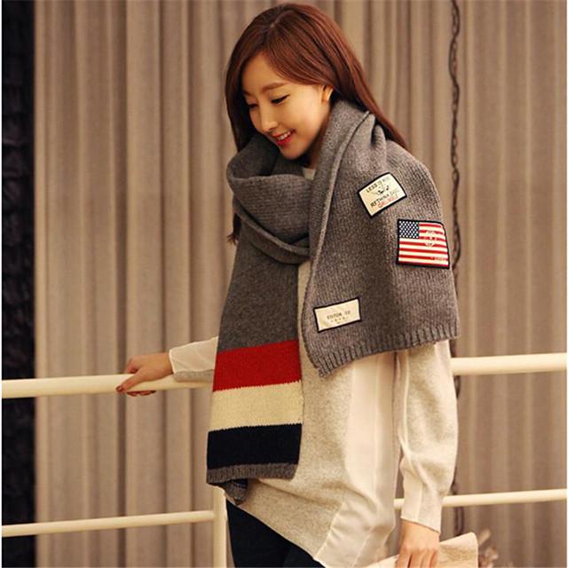 Новый бренд шарф женщины роскошный удлиняют полосатый шарф зимы женщин вязать шарф ...