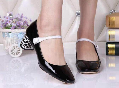 U292 2 COLORS GENUINE LEATHER MARY JANE GEMS MED HEELS