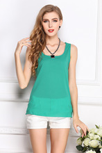 Popular fashion and fresh sweet dress sleeveless chiffon vest candy color pure color render unlined upper