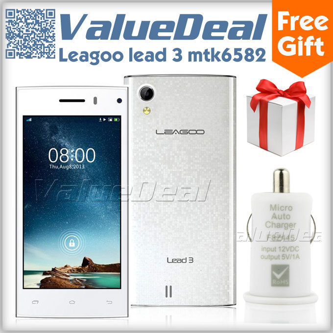 Original Leagoo Lead 3 MTK6582 Quad Core Mobile Phone Android 4.4 4.5inch IPS Screen 5MP Camera 4GB ROM Dual Sim 3G GPS NEW 2014(China (Mainland))