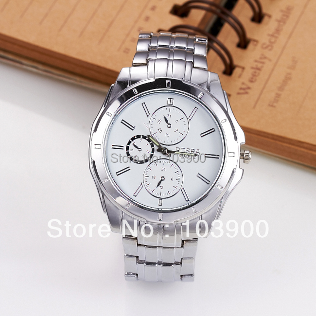 Hot Sale Clock Men White Round Dial Silver Color Imitate Steel Band Watches, Cheap price Free Shipping<br><br>Aliexpress