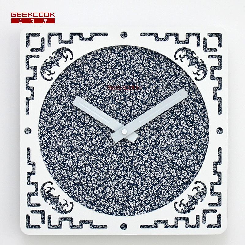 home decor wandklok wall clocks modern design kitchen pared relojes decoracion saat wanduhr watch square pendule murale wood(China (Mainland))