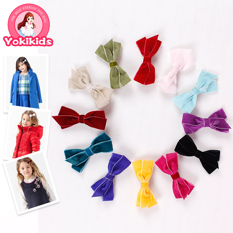 300pcs/lot Children's hair accessories Headwear preference magazine star models imported velvet bow hairpin 50705(China (Mainland))