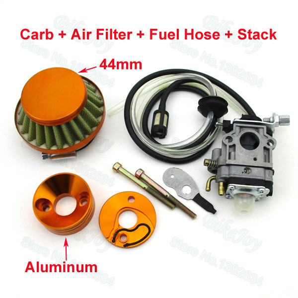 Carb Carburetor + 44mm Air Filter & Gold Stack & Fuel Hose Carby For 33cc 43cc 49cc Gas Scooter Skateboard(China (Mainland))