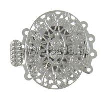 Free shipping!!!Brass Box Clasp,Punk Style, Oval, platinum color plated, 4-strand & hollow, nickel, lead & cadmium free