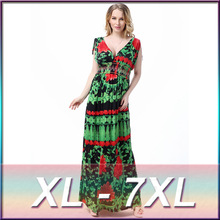 Plus Size 2016 New Women's Maxi Long Green Print Summer Women Sleeveless Deep V-Neck Dresses