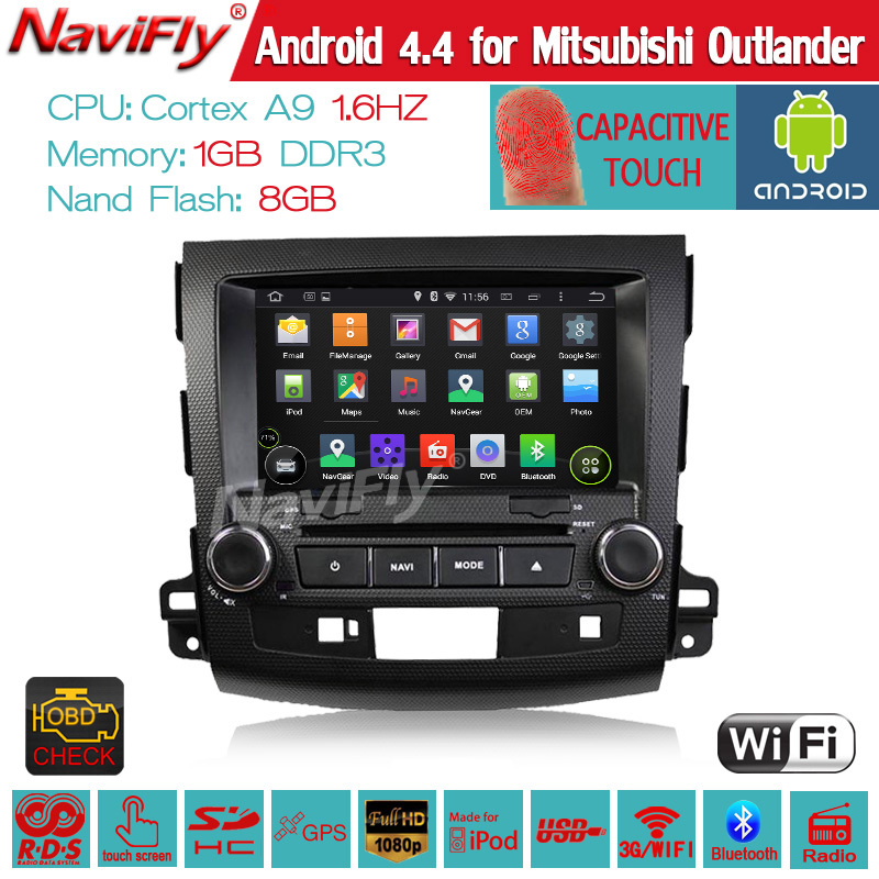 Android 4.4 Car DVD Player for Mitsubishi Outlander 2006-2012 w/ GPS Navigation Radio TV BT CD USB AUX DVR 3G WIFI Tape Recorder(China (Mainland))