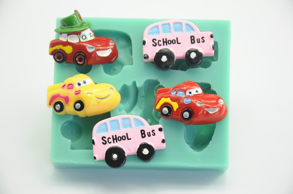 Cartoon Cars School Bus Cake Mold Cake Decorating Tools Silicone Fondant Mold Kitchen Accessories Chocolate Mold Confectionery(China (Mainland))