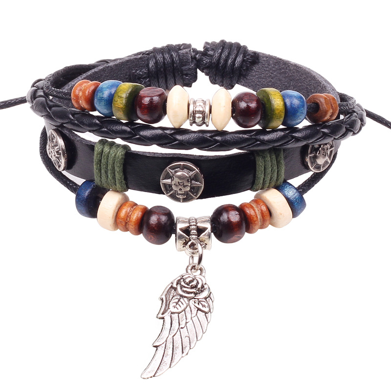 Women Jewelry Accessories Black Leatherette & Alloy Wing Wristband Colorful Wood Beads Bracelet Gift for Men Charm Bracelets(China (Mainland))