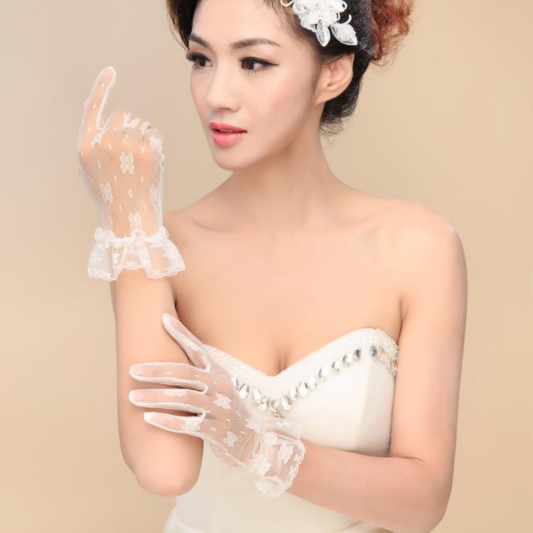 2015 Bridal Lace wedding Gloves women Dress veil Accessory Bride Glove Ivory short steering wheel Mitt party Accessory(China (Mainland))