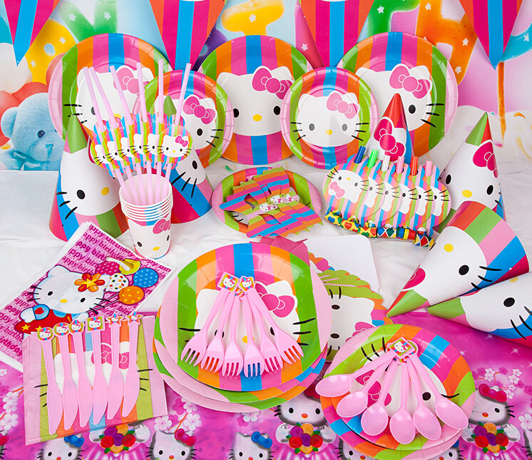 New 90pcs Kids Birthday Party Decoration Set Birthday Hello kitty Theme Party Supplies Baby Birthday Party Pack