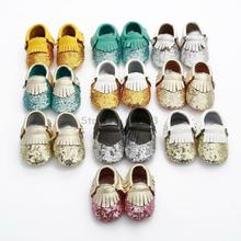New 2016 Handmade Tassel Bling Sequins Girl Baby Shoes Leather Moccasins Baby Casual Shoes Baby Toddler Shoes First Walkers(China (Mainland))