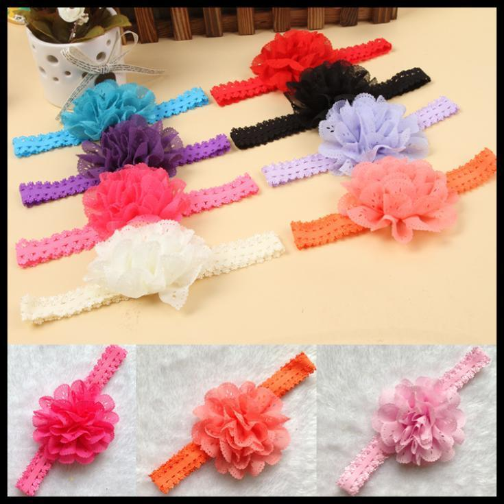 New 2016 arrival Hot sale Fancy Hair Accessories Baby Girl Favourite Cute Lace Flower Hairbands 12 Colors Shipping Free(China (Mainland))