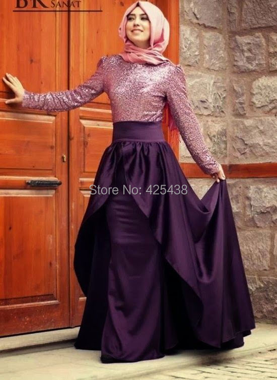 2014 Asian Engagement Hijab Evening Dresses Long Sleeve Empire Waist Muslin Prom Dresses with Sleeve(China (Mainland))