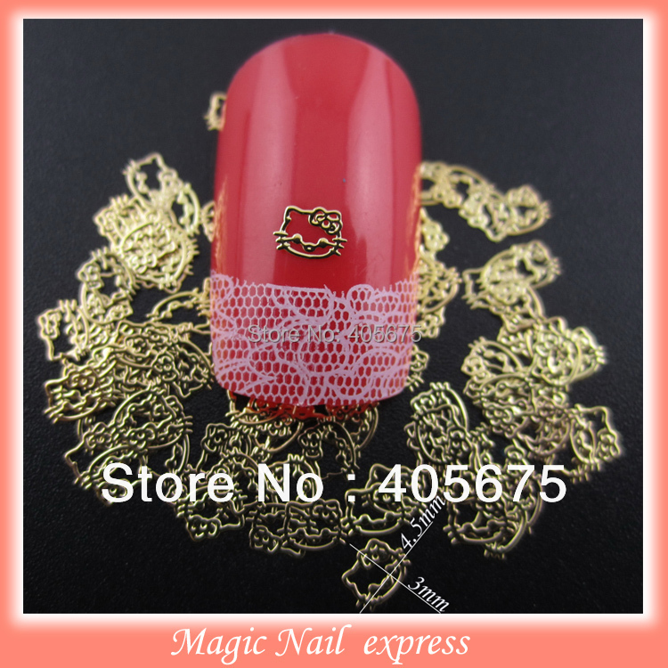 Gold slices Hello kitty 3d nail art decoration sapngles DIY studs under gel top coat decorations 1000pcs<br><br>Aliexpress