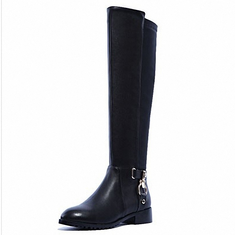 ENMAYER    the new 2015 knee high boots round toe square heel solid zip Buckle fashion boots full grain leather boots <br><br>Aliexpress
