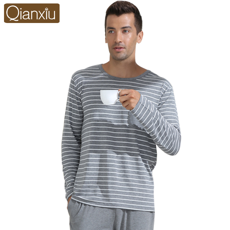 Modal Pajamas men Couples Sleepwear O-neck Casual Stripe Pajama Set Plus Size Home Dress Free Shipping