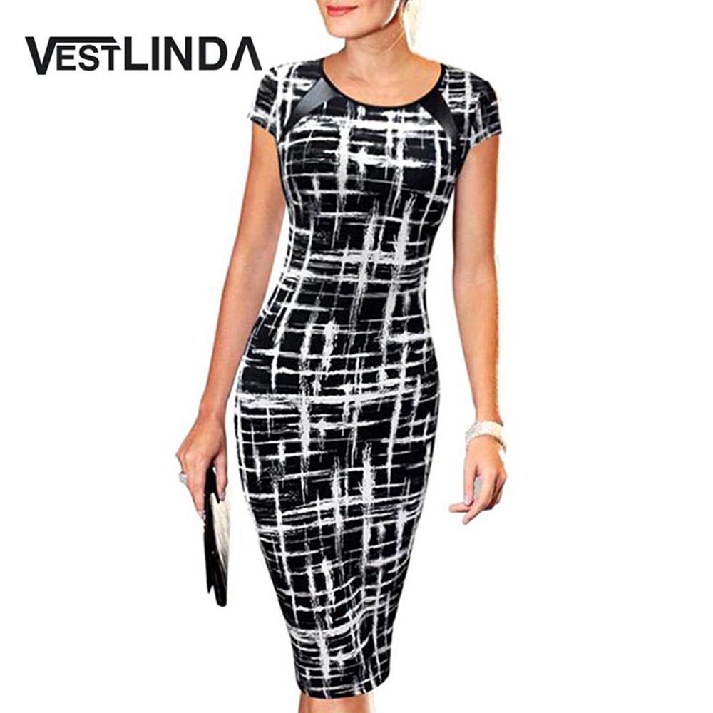 VESTLINDA Summer Office Pencil Midi Dress Short Sleeve Print Bodycon Dress Women Tunic Elegant Vestidos Sheath Ladies Dresses 1