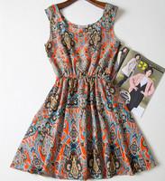 2015 Fashion Women Dress Print Cheap Casual Vintage Vestidos De Festa Party Clothing Female Summer Style Beach Desigual Dresses