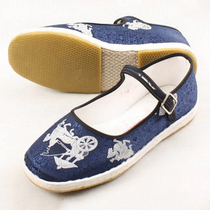 Chinese Traditional Carriage Patchwork Old Beijing Cloth Shoes Women's Mary Jane Flat Heel Dichotomanthes Sole Old Peking Shoes