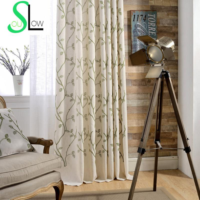 Cotton Embroidery Curtain Cloth Blackout Leaves Embroidered PastoralCurtain Fabric Modern Curtains For Living Room Window Drapes(China (Mainland))