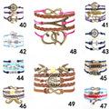 2015 Fine Jewelry Multilayer Leather Bracelet Arrow Eiffel Tower Anchors Infinity Heart Owl Wings Charm Bracelets