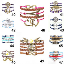 2015 Fine Jewelry Multilayer Leather Bracelet  Arrow  Eiffel Tower Anchors Infinity  Heart Owl Wings Charm Bracelets Pulseira(China (Mainland))