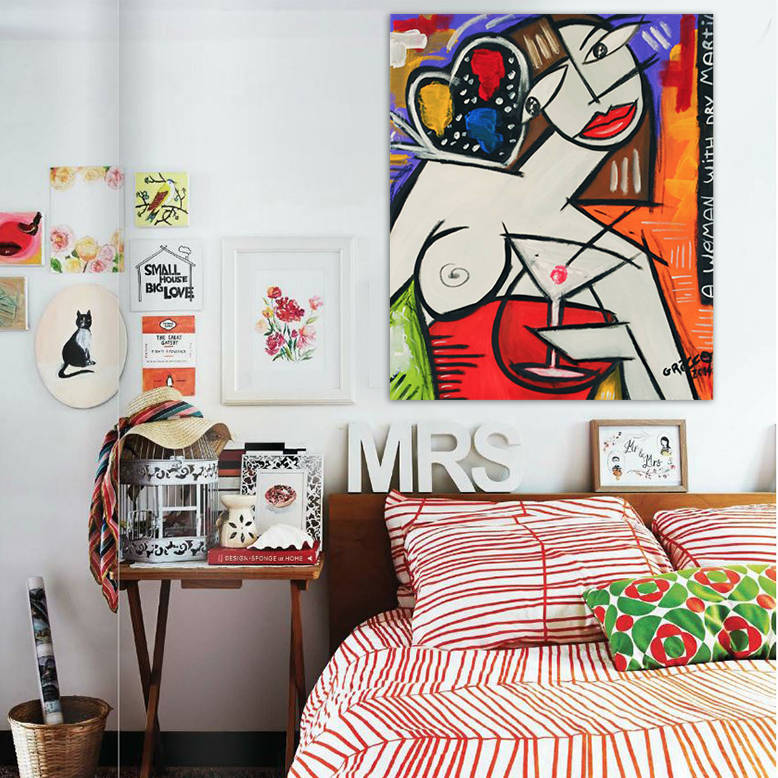 Fauvism Modern humorous portrait of Picasso painting graffiti canvas wall art home decoration style bedroom original art(China (Mainland))