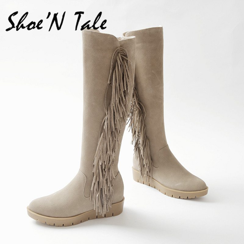 ShoeN Tale High Quality Fashion Winter Flat  Boots Comfortable knee High Boots Women Shoes Sexy Warm Long High Snow Boots<br><br>Aliexpress