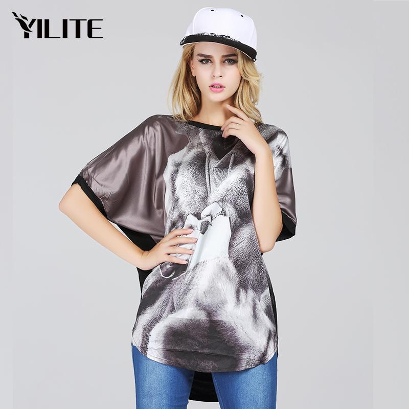 alien t shirt dress printed black tee femme harajuku tshirts cotton women plus size blouses summer YILITE 2015(China (Mainland))