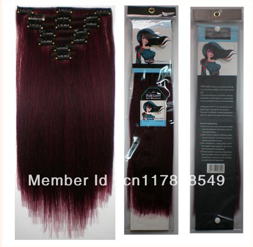 Free Shipping Juxin Brazilian Virgin Clip In Remy Human Hair Extensions 70g,7pcs/set #99J Burgundy Red 1set/Lot