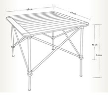 BRS outdoor camping adjustable picnic table protable lolding Aluminum table
