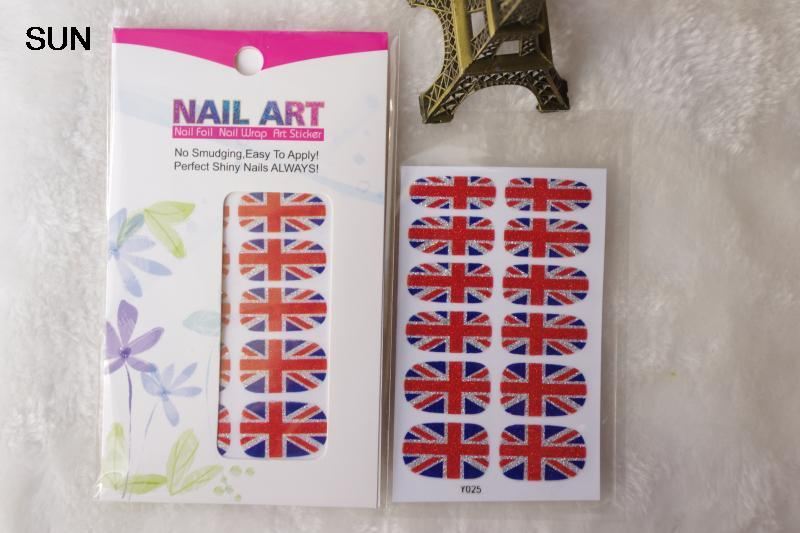 Adhesive Nail Art Stickers UK British flag Design Full Cover Nail Wraps Sticker Fashion Manicure Glitter Decor Foil Decals(China (Mainland))