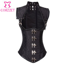 Black Brocade Collared Underbust Waist Training Corset Vest Trainer Steel Boned Steampunk Corsets Sexy Gothic Clothing For Women