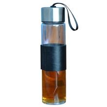 450ml Glass Water Bottle Stainless Steel Lid Drinking Mug Drinkware Kettle Coffee Tea Cup With Heatproof Nonslip Leather Sleeve(China (Mainland))