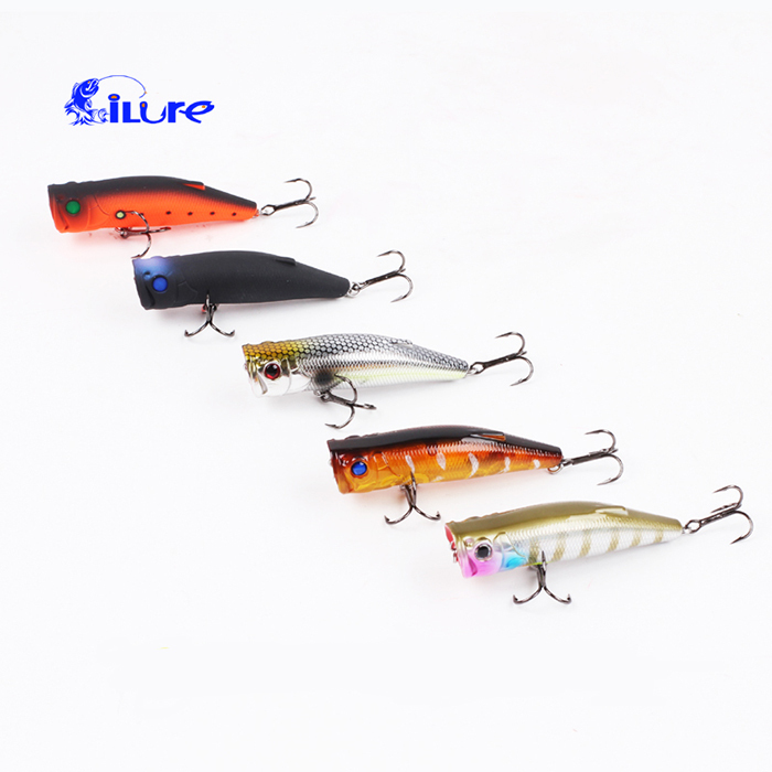 Hot Sale 4Pcs/Lot Fashion Popper Fishing Lures Attractive Popular Fishing Hard Bait With VMC Treble Hook PRO-8019 T30(China (Mainland))