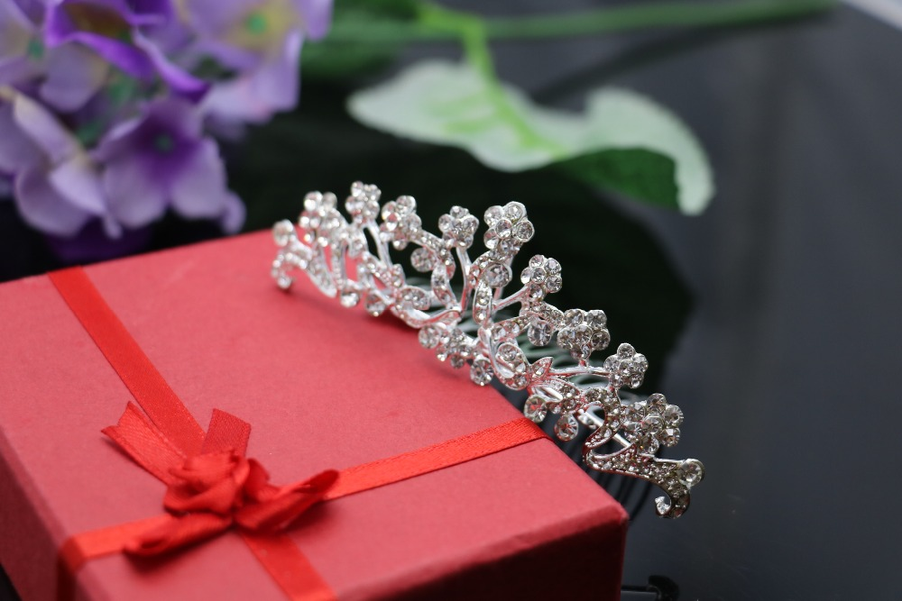 New Bridal Wedding Crystal Rhinestone Crown Hair Claws Silver Plated Fashion Hairwear Women Tiaras Hair Comb Headband Wholesale(China (Mainland))