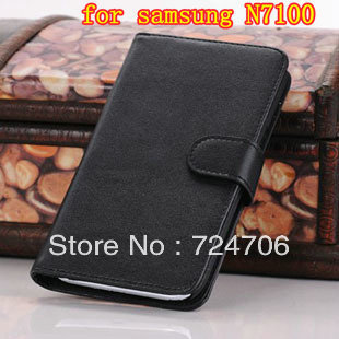 Crazy horse holster for N7100 flip leather case with card holders for Samsung Galaxy Note 2 free shipping