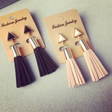 Vintage Triangle Tassel Drop Earrings Faux Suede Fabric Long Dangle Earrings for Women EX129(China (Mainland))