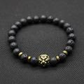 Wholesale Antique Gold Color Buddha Leo Lion Head Bracelet Black Lava Stone Beaded Bracelets For Men