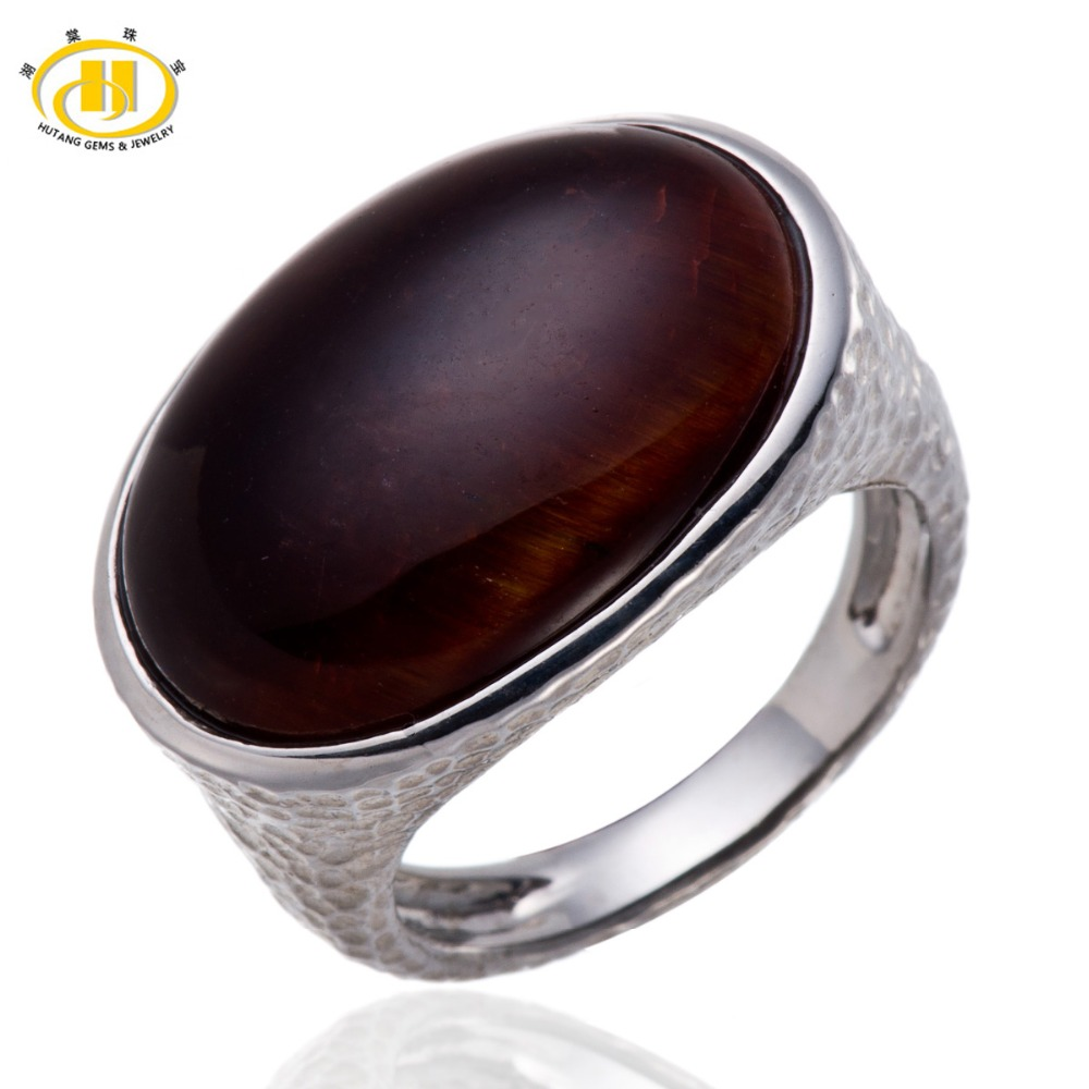 2015 New Twilight Red Tiger Eye Solid 925 Sterling Silver Hammered Band Ring Fine Jewelry<br><br>Aliexpress
