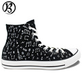 Music Notes Painted Shoes Custom Shoes Mens Womens Canvas Shoes High Top Hand Painted Art
