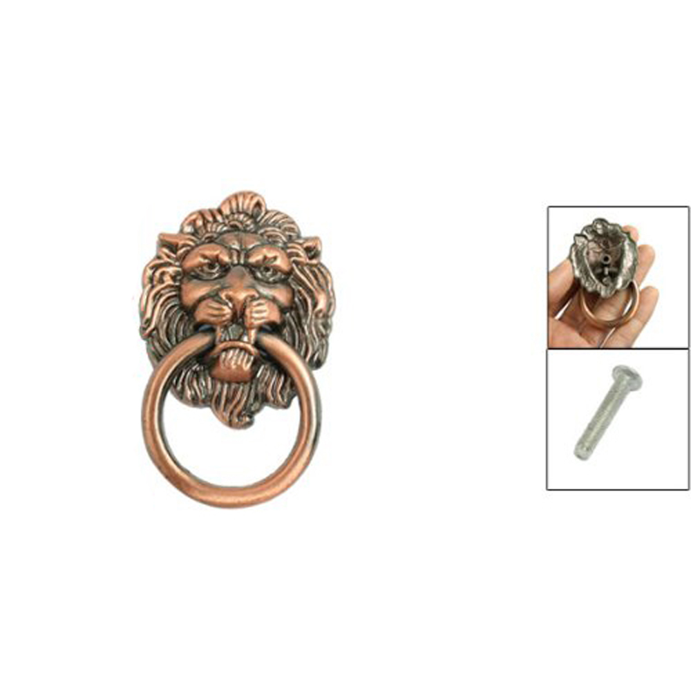 FJS! Copper Tone Metal Lion Head Shaped Drawer Pull Handle 2.5<br><br>Aliexpress