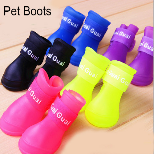 Pet Boots Anti Slip Skid Waterproof Protective Size S M L Rubber Pet Rain Shoes Booties of Candy Colors dog shoes 4 pieces/set(China (Mainland))